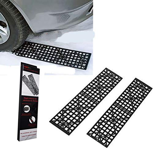 DOOK 2Pcs Auto Traction Mat Tire Grip Aid, Best Snow Chain Alternative(Black)