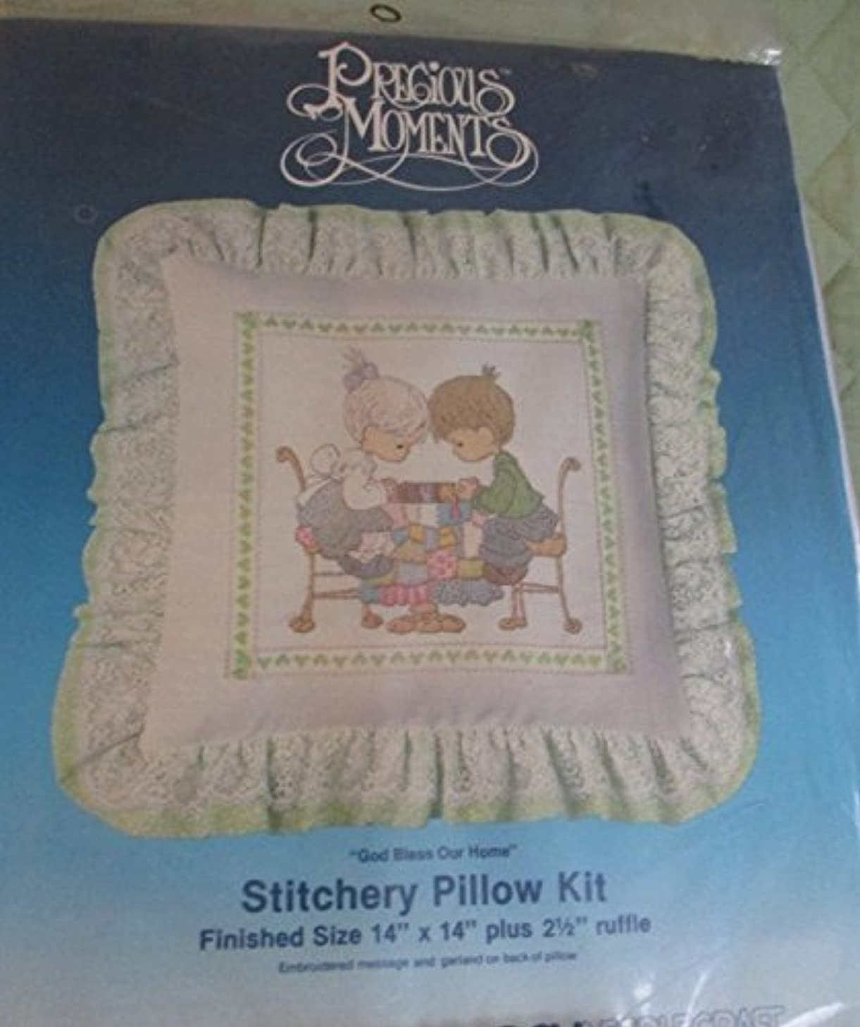 PRECIOUS MOMENTS VINTAGE PARAGON 1089 CREWEL STITCHERY PILLOW KIT - GOD BLESS OUR HOME - DATED 1984