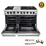 Thor Kitchen 48 inch Freestanding Pro-Style Double Oven Professional Gas Range with 6.8 Cu. Ft. Oven, 6 Burners 1...