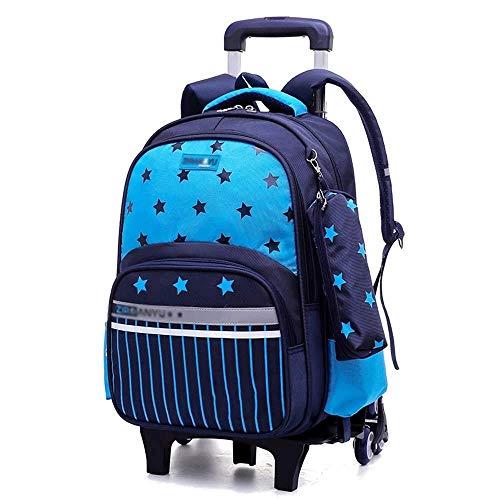 SHIJIAN Sac à roulettes for Enfants - Tissu en Nylon à Six Roues, Sac à Dos for étudiant détachable, Sac d'école, Convient aux lycéens et lycéens - adapté aux écoles (Color : Blue)
