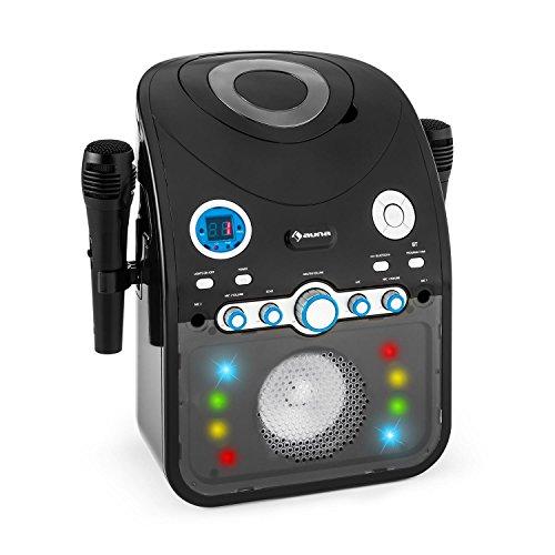 Auna StarMaker - Karaoke, 2 microfoni dinamici Via Cavo, Bluetooth, Altoparlante Integrato, CD + G-Player, Top Caricamento, Effetto Eco, A.V.C. Funzione, Effetti Luce LED, Nero