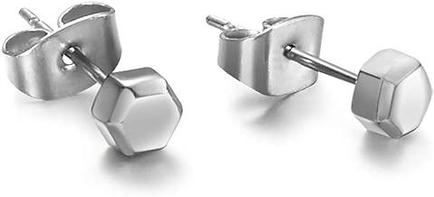 TGNEL Titanium Tiny Hexagon Stud Earrings Hypoallergenic for Women Girls High Polished