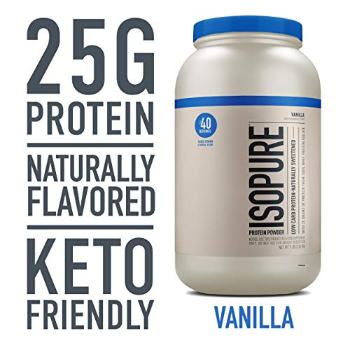 Isopure Naturally Flavored, Keto Friendly Protein Powder, 100% Whey Protein Isolate, Flavor: Natural...