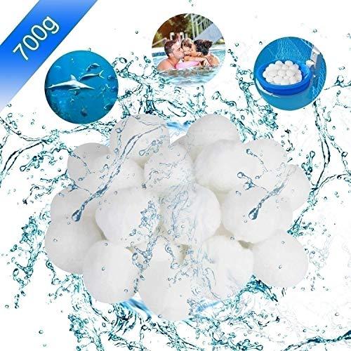 Pool Filterbälle, Filter Balls 700g ersetzen 25kg Filtersand/Quarzsand, Poolzubehör Pool Reinigung für Sandfilteranlagen, Poolfilter für Kristallklares Wasser, entfernt feinste Schmutzteilchen