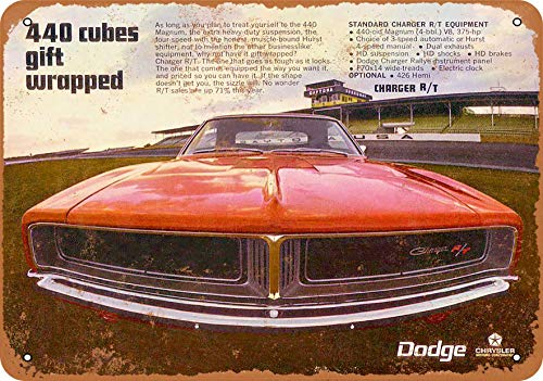 Wall-Color 7 x 10 Metal Sign - 1969 Dodge Charger R/T 440 Cubes - Vintage Look