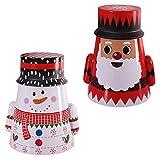 Amosfun 2 Stück Weihnachten Keksdose Geschenkbox Blechdose Weihnachtsdose Metall Weihnachtsmann Schneemann Stehaufpuppe Geschenkdose Teedose für Weihnachten Party Favor Gastgeschenke