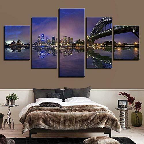 UOBSLBI Bilder Wandbild 5 Teilig Sydney Hafen In Der Nachtstadt Wandbild Leinwand Bild Wandbilder Wohnzimmer Wohnung Deko Kunstdrucke 5 Teilig Fertig Zum Aufhängen 150 * 80Cm
