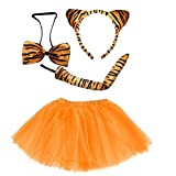 Lizzy Ladies ANIMAL FANCY DRESS TUTU with EARS BOW TAIL SET for Halloween, Hen Party Fancy Outfit Tutu Skirt (Tiger Tutu Costume)