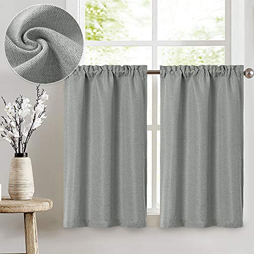 Linen Textured Tier Curtains Rod Pocket Flax Linen Look Tiers Kitchen Cafe Curtains Window Treatments for Living Room 2 Panels 24' L Grey