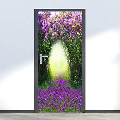Pegatinas para puerta de PVC con membrana para puerta, papel pintado de vinilo para papel pintado de arte mural, adhesivo profesional de flores, color morado (77 x 290 cm)