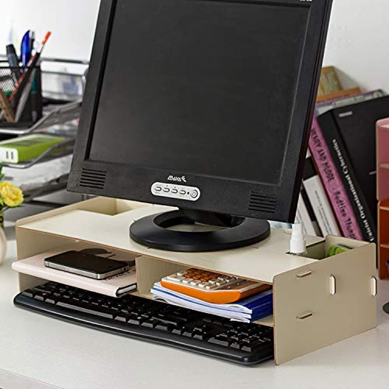 Akiimy 木制通用电脑显示器支架立架,带储物整理抽屉、桌面、笔记本电脑支架立架和键盘存储空间,适用于家庭和办公电脑桌支架