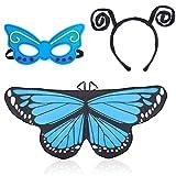 Beelittle Traje de alas de mariposa Juego de disfraces de 3 piezas Conjunto de alas de mariposa Mantón de cabo con diadema de antena y máscara (Azul)