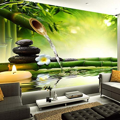 3D foto behang woonkamer TV achtergrond groene bamboe stromend water natuurlijke landschap interieur muurschildering-350 * 256cm