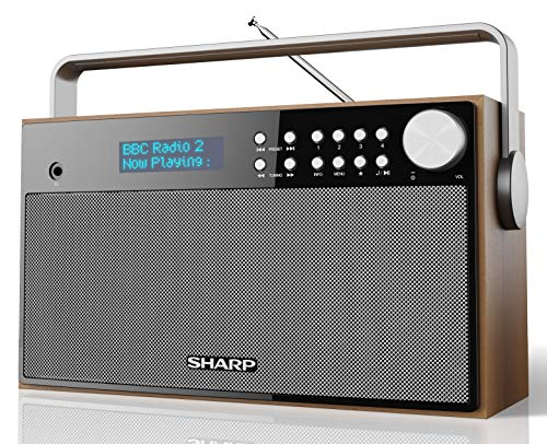 SHARP DR-P355 DAB+ Digital Radio, Bluetooth, DAB/DAB +/FM mit RDS-Lauftext, Alarm-/Schlaf und Snooze Funktion, Braun