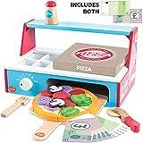 bee SMART Kinder Pizza aus Holz und Zubehör, 30+ teiliges Set mit Schneidepizza mit Schneideroller, Ofen, Toppings, Pizza Heber und Pizzakarton, Spielgeld UVM für Kinder, Pizza-Set aus Holz