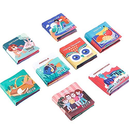 Cyhamse Babyboekje, 8 stuks, zacht babyboekje, stofboek vanaf 10 maanden, met rijmen en veel speelelementen, pedagogisch ontdekkingsboek, voelboek voor babybadboek, 8 stuks