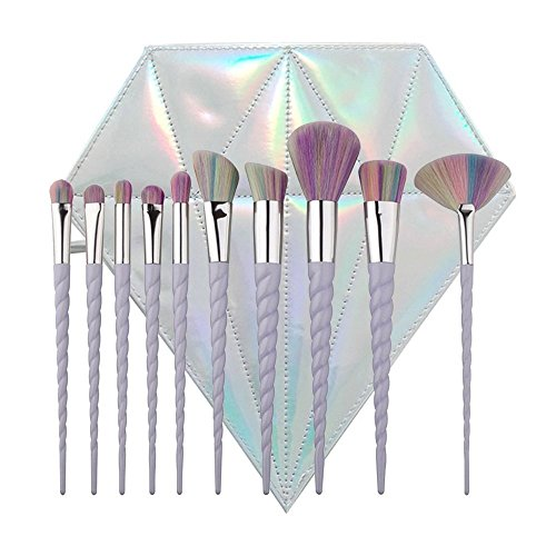 Lennov® 10pcs Spiral Einhorn Griff Form Regenbogen Synthetik Make-up Pinsel Set Professionelle...