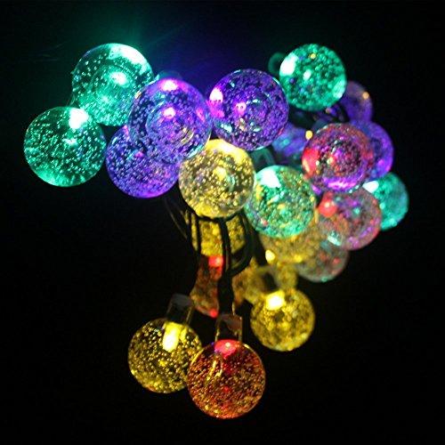 garden mile Lichterketten Dephen 6m 30 LED Kristallkugel Abdeckungen Mit 8 Modi Wasserdicht Outdoor Lichterketten Solar Betrieben Globe Fee Orb Laterne Lichterketten Ambiance Beleuchtung für