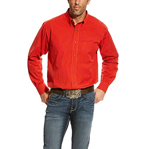 ARIAT Men's Classic Fit Long Sleeve Shirt, Cabelo Scarlet Ruby, LG