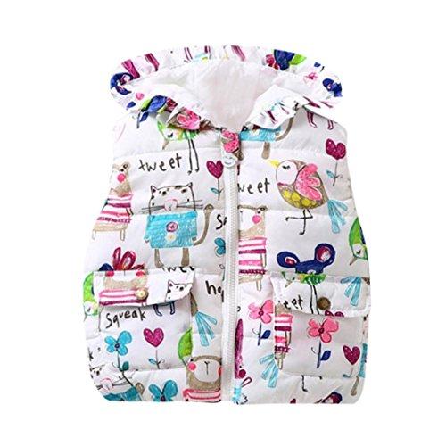 Lenfesh Baby Mädchen Karikatur Blumen Gedruckt Hooded Weste Ärmellose Jacken Wintermantel mit Reißverschluss (80/12 Monate, Karikatur)