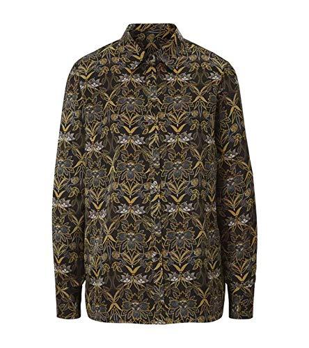 Heine Druckbluse ausgefallene Langarm-Bluse Damen Bluse mit Blumenmuster Hemdbluse Schwarz, Größe:34