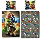 Character World Kinder Bettwäsche Set Lego Ninjago, 135x200cm + 80x80cm, Linon Baumwolle (Ninjago...
