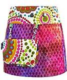 Sunsa Kinder Rock Minirock Wickelrock Wenderock Sommerrock Kinderrock aus Baumwolle, Größe ist variabel verstellbar durch Druckknöpfe