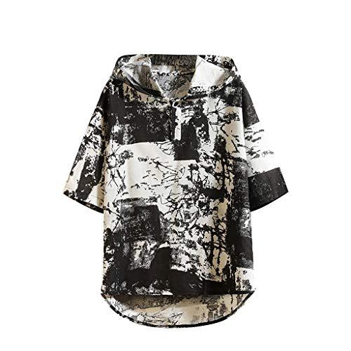 DE Damen Langarm Shirts Hemd High Low Geblümt Button Baumwolle Linen Tops Bluse