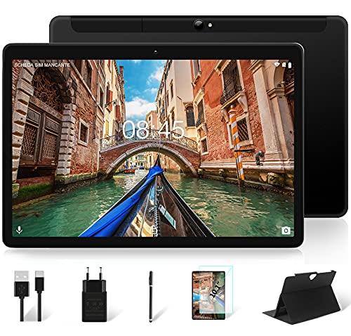 Tablet 10 Pollici Dual LTE SIM 4GB RAM 64GB EMMC ROM MEBERRY Android 10 Ultra-Veloce Tablets PC, 128GB Espandibili | Google GMS | 8000mAh | WIFI & LTE | Bluetooth | GPS | Fotocamera (5MP+8MP),Nero