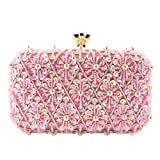 TOPKEAL Elegante Bolso de Mano Mujer de Boda Fiesta Regalo Lujoso Embragues de Cadena y Decoración con Lentejuelas Rosa