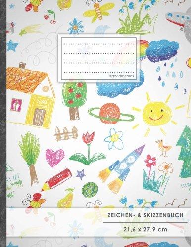 """Zeichen- & Skizzenbuch: DIN A4 • 100+ Seiten, Soft Cover, Register, """"Kindlich"""" • Original #GoodMemos Sketchbook • Perfekt als Skizzenbuch, Übungsheft, Storyboarding"""