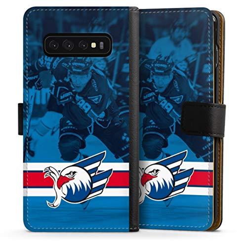 DeinDesign Klapphülle kompatibel mit Samsung Galaxy S10 Handyhülle aus Leder schwarz Flip Case Eishockey Logo Adler Mannheim
