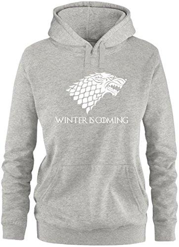 EZYshirt® Game of Thrones | Winter is Coming | Schattenwolf Damen Hoodie