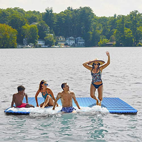AQUA Super-Sized Floating Island with Expandable Zippers, Size 11' x 5.6', 1,000 Lbs. Capacity,...