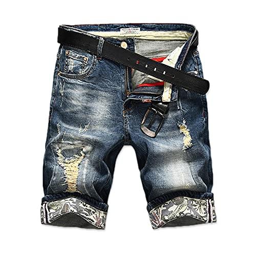 Shorts Pantalones Cortos Hombres Pantalones Vaqueros Cortos para Hombre Vogue Fashion Hot Mens Ripped Short Jeans Hole Bermuda Casual Cotton Cowboy Denim Shorts Hombre 29 Azul