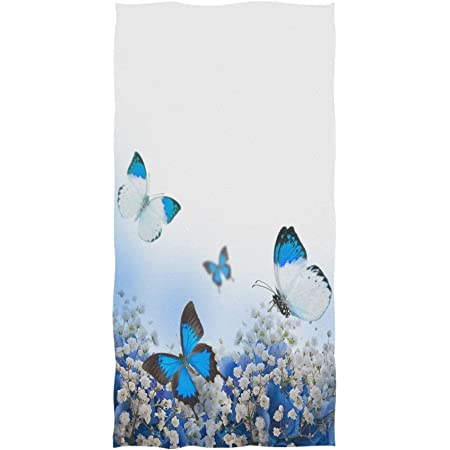 Amazon Com Moyyo Blue Hydrangeas Butterfly Hand Towels Soft Highly Absorbent Large Hand Towels 15 X 30inch Fingertip Towels Bath Towel Multiprupose For Hand Face Bathroom Gym Hotel Spa Kitchen Dining