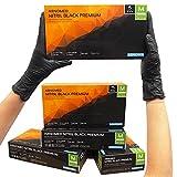 Guantes desechables ARNOMED negros, guantes de nitrilo M, 100 unidades/caja, sin polvo y sin látex, guantes desechables, guantes disponibles en talla S, M, L y XL