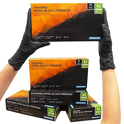 ARNOMED gants jetables noir, gants nitrile M, 100 pièces boîte, sans poudre et sans latex, gants jetables, gants disponibles en taille S, M, L & XL