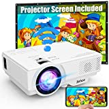 [Wifi Projector] Jinhoo 4500 Lumen Video Projector 1080P Full HD Supported [With Projector Screen] Mini Wireless Projector Compatible with Smartphone, Tablet, TV Stick, Game Player, Home Theater White