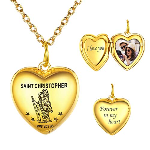 18K Gold Plated Heart Shape St. Christopher Locket Necklace that Holds Pictures,Customize Any Photo Engrave Text Amulet for Women Girls 16'