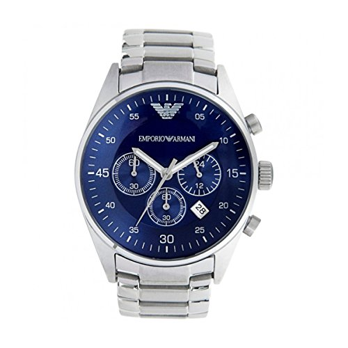 EMPORIO ARMANI AR5860 Mens QUARTZ BLUE DIAL STAINLESS STAAL CHRONOGRAPH WATCH