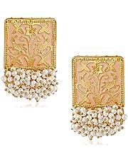Vanee Ethnic Gold Plated Meenakari Rectangular Shape Pink Dagler Earring For Women CJ100138