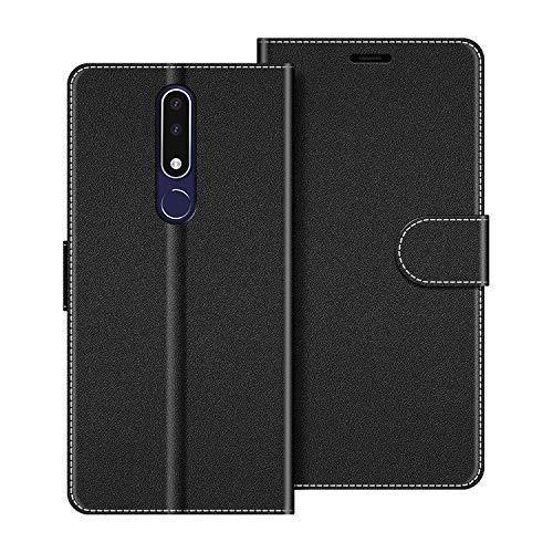 COODIO Handyhülle für Nokia 3.1 Plus Handy Hülle, Nokia 3.1 Plus Hülle Leder Handytasche für Nokia 3.1 Plus Klapphülle Tasche, Schwarz