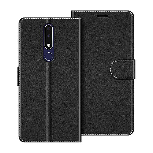COODIO Custodia per Nokia 3.1 Plus, Custodia in Pelle Nokia 3.1 Plus, Cover a Libro Nokia 3.1 Plus Magnetica Portafoglio per Nokia 3.1 Plus Cover, Nero