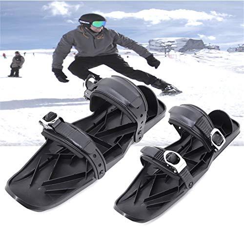 riou Mini Ski Skates für Snow Skiboard Snowblades, Erwachsene Skier Einstellbar Skifahren Schlitten Snowboard Skischuhe (A)