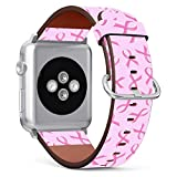 Replacement Leather Strap Printing Wristbands Compatible with Apple Watch Series 5/4 / 3/2 / 1 (42mm / 44mm) - Pink Ribbon Against Breast Cancer Symbol