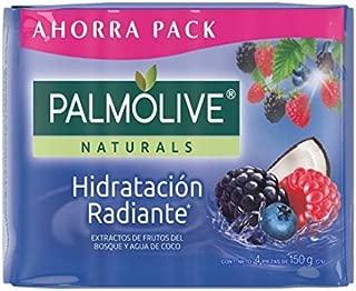 Jabon Palmolive Naturals Hidratacion Radiants 4 Pack 150 g / 5.29 oz Soap Bars Classic Frutos del bosque y agua de coco Bathing Natural Mexican smooth soothing gentle scent foaming shower bath choose