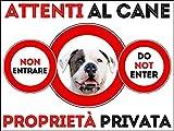 SNOGGHY Targa Cartello ATTENTI al Cane Bulldog Americano (30 X 20 CM)