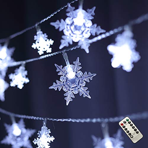 Harrms Snowflake String Lights, 8 Modes Remote Control 20 Ft Battery Operated Waterproof String Lights Indoor Outdoor Bedroom Wedding Birthday Party Christmas Snowflake Decorative, White
