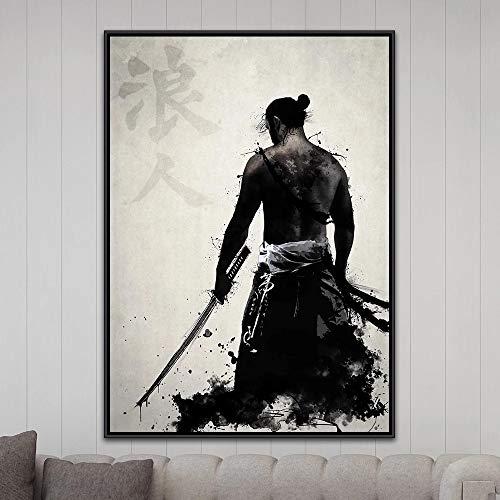 Warrior Chivalrous Japanese Samurai Canvas Modern Art Picture Abstract Prints Poster Living Room Home Decor Martial Arts Swordsman Hero Female Swordsman